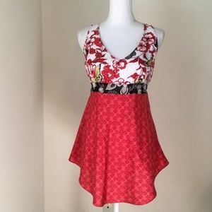 Cabi Red Silk Butterfly Floral Tunic Tank Top